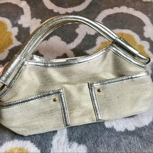 Champagne gold linen styled purse